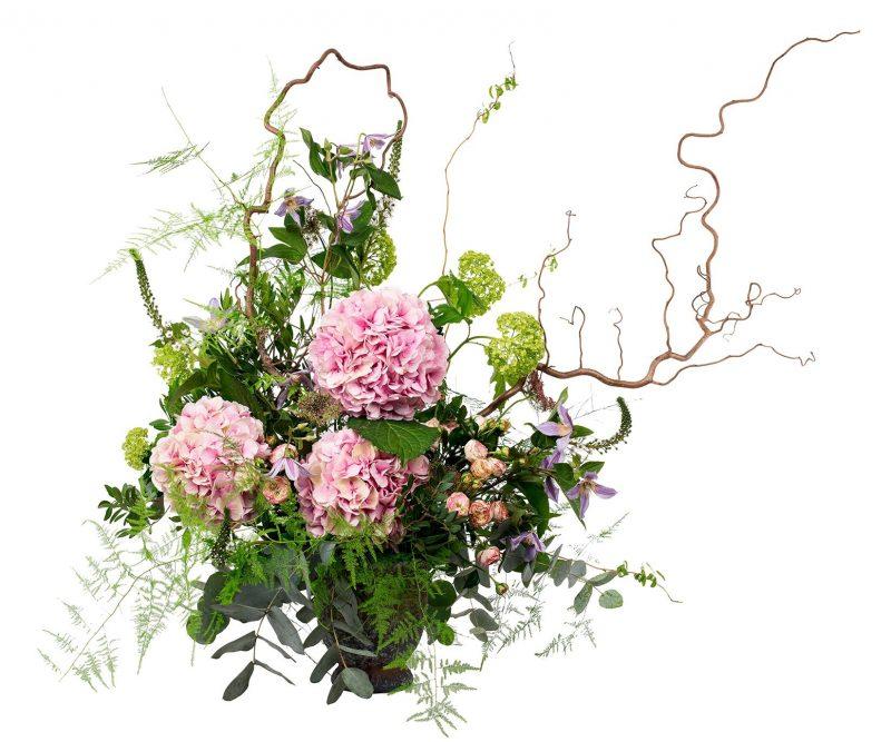 Ramo Flores Nº 15 Hortensias, viburnum, clematis, Ramajes y verdes varios