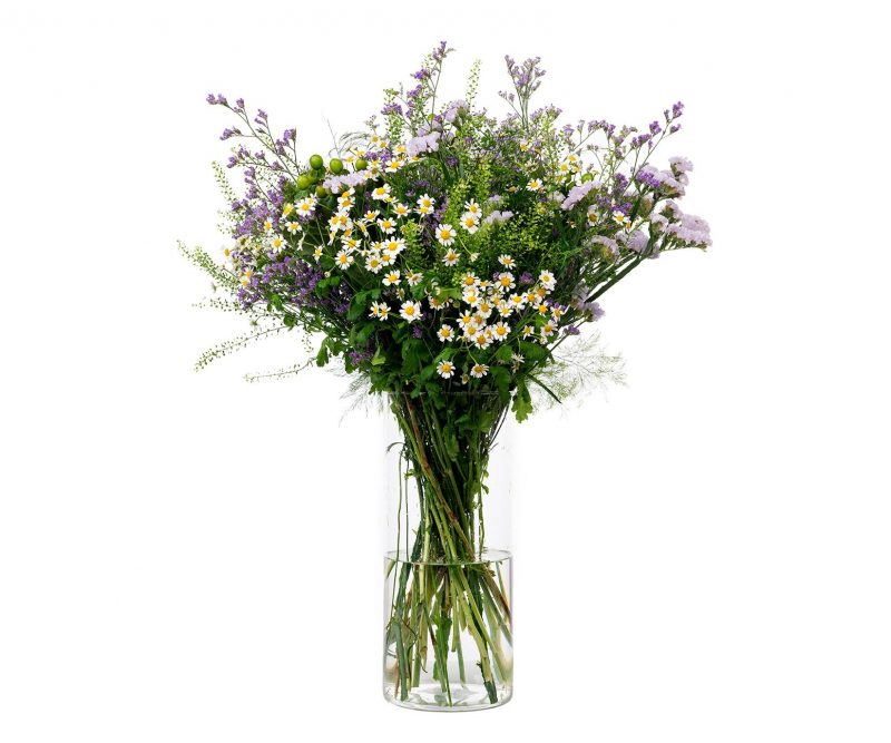 Ramo Flores Nº 26 Tanacetum, thlaspi, hypericum, statice, limonium, verdes varios - Floristería en Madrid Margarita se llama mi amor