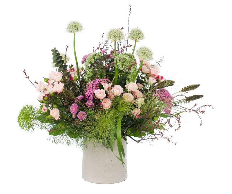 Bouquet Nº 21: Allium, Setaria, Ammi majus, Chrysantemum, Rose, Achilea, Panicum, Limonium, Foliage