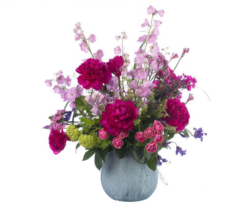 Ramo Nº 09: Delphinium, Peonía, Clematis, Rosa, Phlox, Viburnum, Verdes