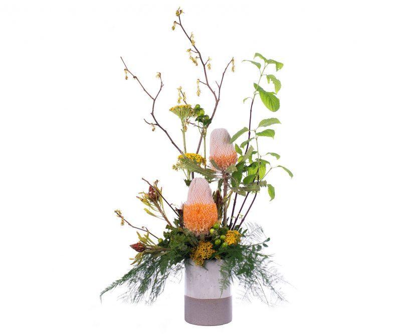Ramo Nº 13: Achilea, Banksia, Hipericum, Leucadendron