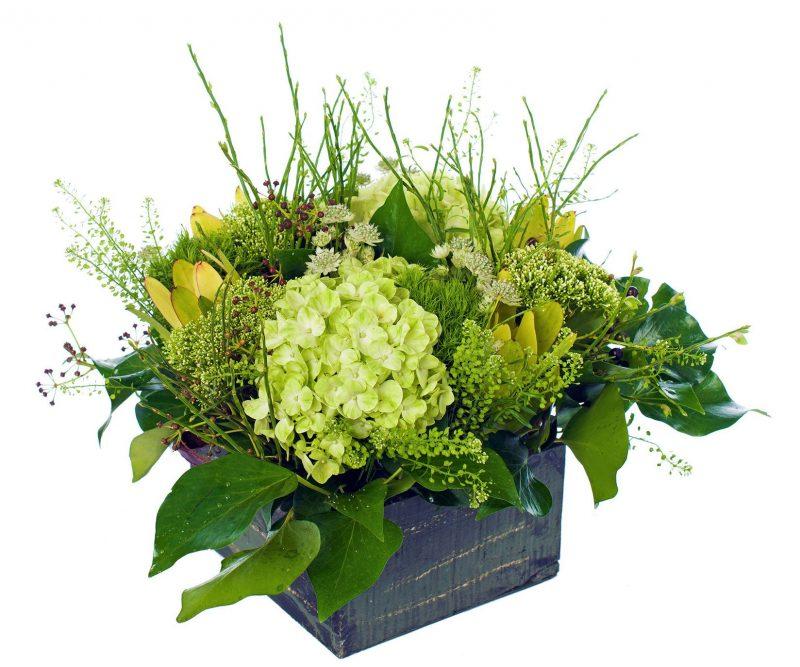 Bouquet Nº 25: Hydrangea, Tranchelium, Carnation, Astrantia, Thlaspi, Leucodendrum, Foliage,  Wooden box