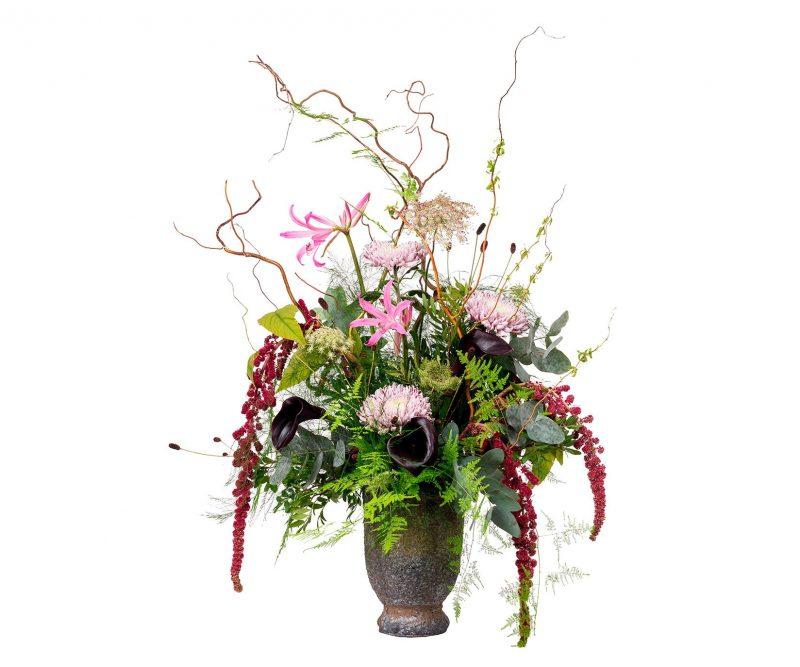 Ramo Flores Nº 23 Amaranthus, Nerine, Deco, Callas, Ammi majus, Ramajes, verdes varios. Jarrón incluido