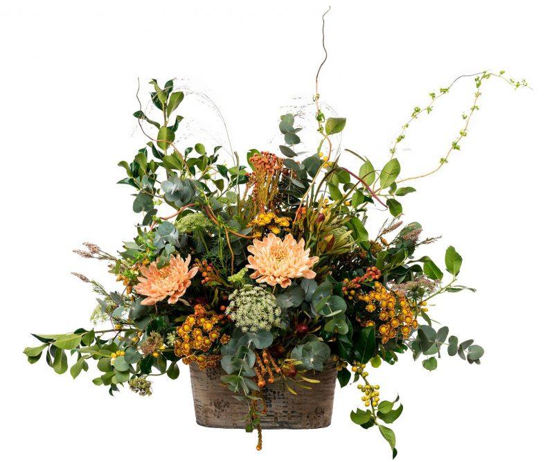 Ramo Flores Nº 34 Deco, Santini, Ammi majus, leucadendrom, ramajes y verdes varios. Jarrón incluido