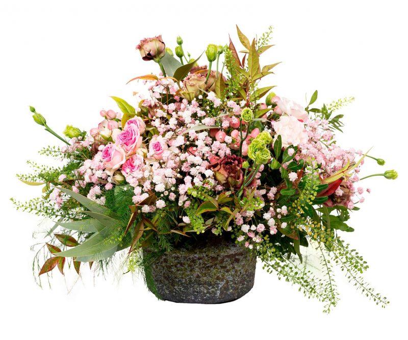 Ramo Flores Nº 38 Rosas, thlaspi, lisianthus, paniculata. Incluye Jarrón - Floristería en Madrid Margarita se llama mi amor